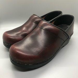 Dansko Dark Red Patent Leather Clogs